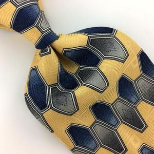 Blue GEOMETRIC Silk Men Designer Necktie Ties